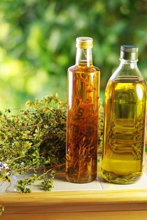 Olive oil,vinegar, and oregano herb.