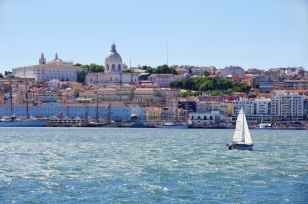 sailboat and Lisbon landscape
