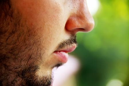 macro face beard of young man