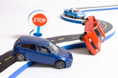 Photo pour two cars accident on road and approaching police  - image libre de droit