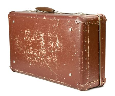 worn-out old suitcase on white background