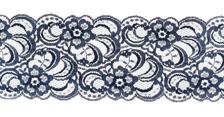 Photo pour Lace trim ribbon over white. Embroidered fabric. Closeup - image libre de droit