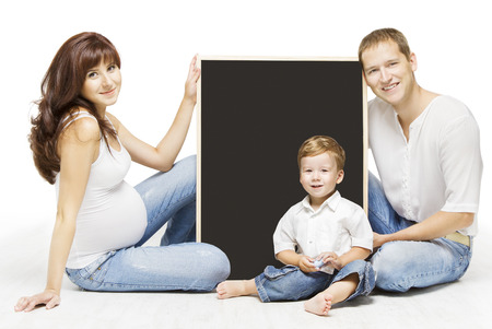 Family Advertising Blank Copyspace Board. Parents Education, Pregnant Mother Father And Child Portrait Over Isolated White Background