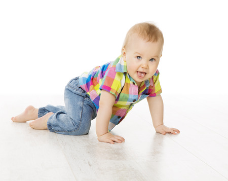 Photo pour Baby Activity, Crawling Little Child Boy Dressed Jeans Color Shirt, Active Kid Isolated over White Background - image libre de droit