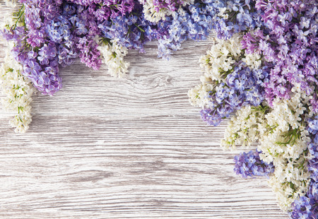 Lilac Flowers Bouquet on Wooden Plank Background, Spring Purple Blooming Bunch, Branch over Wood Texture