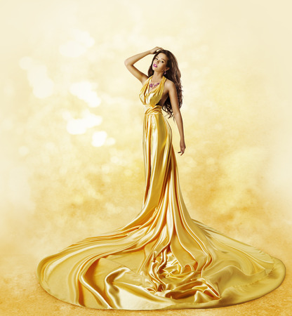Fashion Model Yellow Dress, Woman Posing Twisted Beauty Gown with Long Pleats