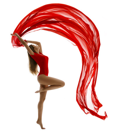 Dancing Woman in Leotard, Flying Red Cloth on White, Gymnast Girl Dance with Wave Fabric Ribbon