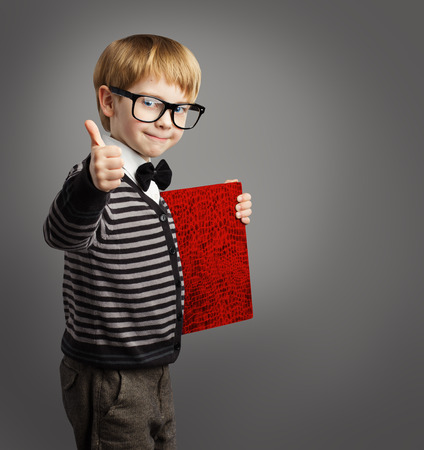 Kid in Glasses, Child Advertiser with Certificate Book, School Boy Showing Thumb Up, Certification Education