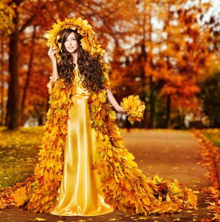 Woman Autumn Fashion Portrait, Fall Leaves Cape, Model Girl in Yellow Season Fantasy Park