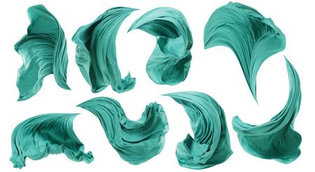 Foto de Fabric Cloth Flowing on Wind, Textile Wave Flying In Motion, White Isolated - Imagen libre de derechos
