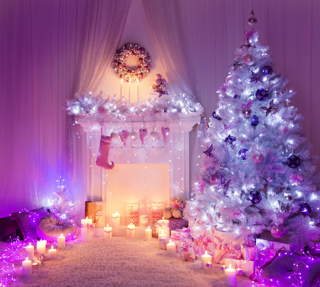Christmas Room Fireplace Tree Lights, Xmas Home Interior Decoration, Hanging Sock and Presentsの写真素材