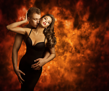 Sexual Couple, Passion Man Kiss Sensual Woman to Neck, Love Flameの写真素材