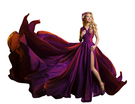 Photo pour Woman Dress Flying Fabric, Beautiful Fashion Model in Purple Gown on White - image libre de droit