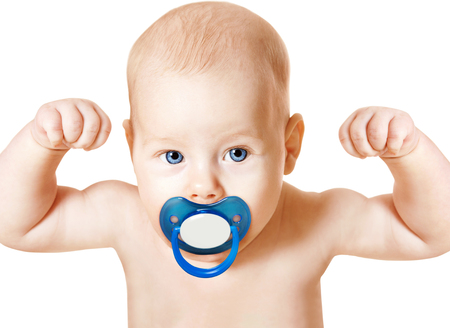 Foto de Strong Baby with Pacifier Raising Up Arms, Sport Kid over White - Imagen libre de derechos