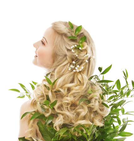Photo for Hair Care, Woman Long Hair and Organic Leaves, Model Rear View over White background - Royalty Free Image