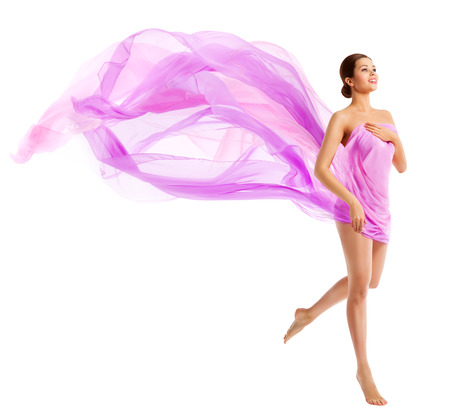 Woman Body Beauty, Fashion Model in Waving Silk Fabric, Cloth Flying Wind over Whiteの写真素材