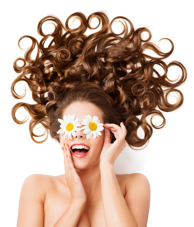 Photo pour Woman Hair Curls, Girl Hairstyle, White Daisy Flowers Glasses On Eyes - image libre de droit
