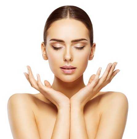 Foto de Woman Face Hands Beauty, Skin Care Makeup Eyes Closed, Beautiful Natural Make Up, White Isolated - Imagen libre de derechos