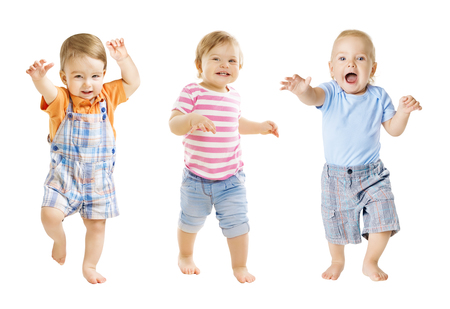 Foto de Baby Go, Funny Kids Expression, Playing Babies Isolated over White Background, one year old children - Imagen libre de derechos