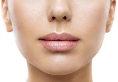 Photo pour Lips, Woman Face Mouth Beauty, Beautiful Skin and Full Lip Closeup, Pink Lipstick - image libre de droit