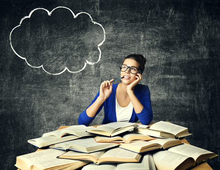 Photo for Books and Thinking Woman, Student Girl Reading Studying Book, Bubble Idea on Blackboard - Royalty Free Image