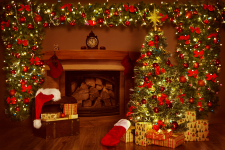 Photo for Christmas Fireplace and Xmas Tree, Presents Gifts Decorations, New Year Home Interior Background - Royalty Free Image
