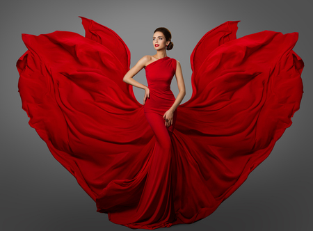 Photo pour Woman Red Dress, Fashion Model in Long Silk Waving Gown Wings, Flying Fluttering Fabric - image libre de droit