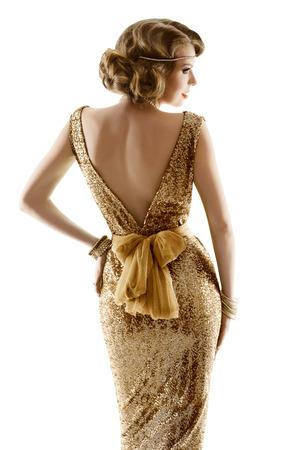 Foto de Retro Fashion Model Gold Dress, Woman Old Fashioned Beauty, Back View over White Background - Imagen libre de derechos