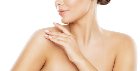 Photo pour Beauty Shoulder Skin Care, Woman Applying Moisturizer by Hands, Young Model Isolated over White Background - image libre de droit