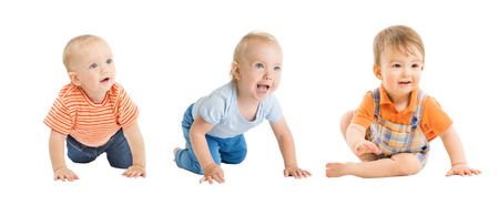 Photo pour Babies Boys, Crawling and Sitting Infant Kids Group, Toddlers Children Isolated over White Background, One year old - image libre de droit
