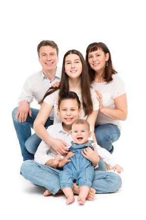 Photo for Family Studio Portrait, Happy Parents and Three Children with Baby on White Background - Royalty Free Image
