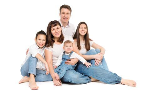 Foto für Family Studio Portrait, Happy Parents and Three Children on White Background - Lizenzfreies Bild