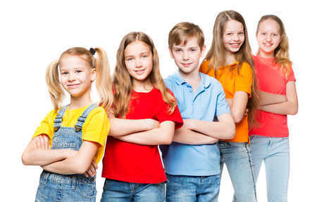 Photo pour Children Group, Kids over White Background, Happy Smilling People in colorful t-shirts - image libre de droit