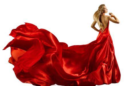 Photo pour Fashion Model Long Red Dress, Woman In Waving Gown, Full Length Beauty Portrait On White - image libre de droit