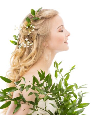 Foto für Woman Face Hair Treatment, Fresh Leaves in Hairstyle, Young Smiling Model Beauty Portrait Profile Side View on White - Lizenzfreies Bild