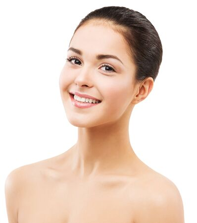 Photo pour Toothy Smiling Woman Face, Natural Beauty Makeup and Skin Care, Happy Brunette Girl on White - image libre de droit