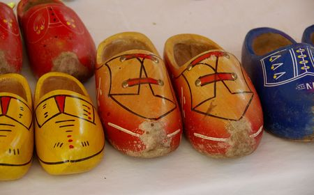 Painted wooden shoes