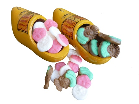 Wooden shoes with sweet cadies from Sinterklaas in the Netherlands