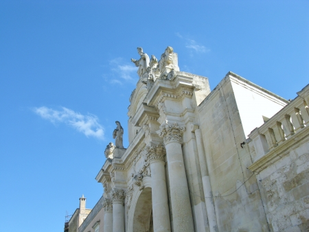 A detail of the saint Orontio gate in Lecce in Apulia in Italy