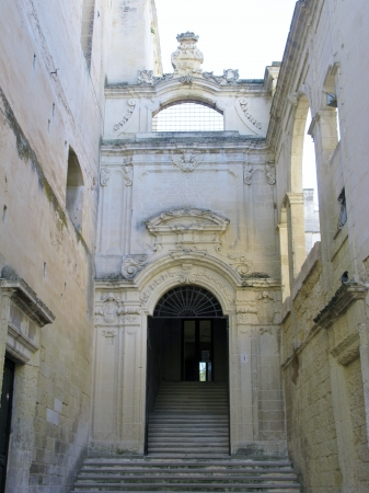 The gate to the ex conservatory Saint Anna in Lecce in Italy