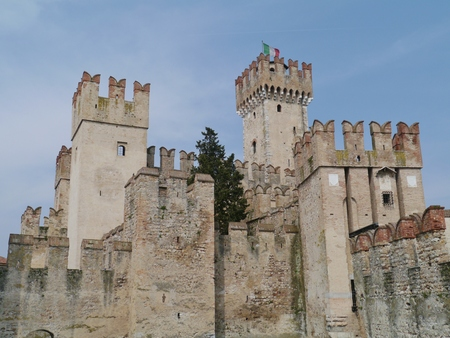 The Scaliger Castle in Sirmione a comune in the province of Brescia in Lombardy in northern Italy
