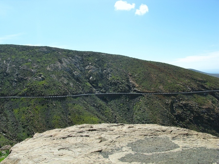 The highway  between Betancuria and Pajares on the Canary Island Fuerteventura. This Island belongs to the Canarian islands in the Atlantic ocean and belongs to Spain