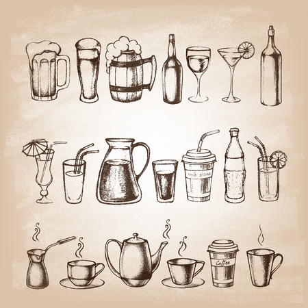 Set of different hand drawn beverages.