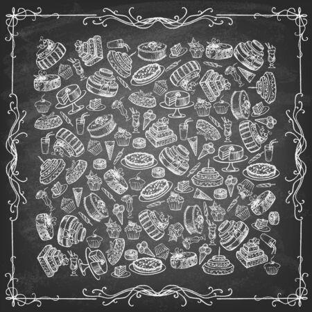 Illustration pour Vintage collection of desserts. Sketches of desserts hand-drawn with chalks on blackboard. Vector illustration. - image libre de droit