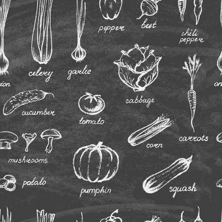 Illustration pour Collection of hand-drawn vegetables on the blackboard. on the blackboard. Seamless background. Vector illustration. - image libre de droit