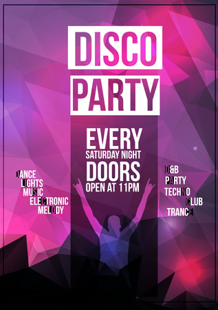 Disco Party Flyer Background Template with Disco Ball Illustration