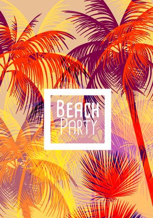 Illustration pour Tropical Background with Palm Tree - Vector Illustration - image libre de droit