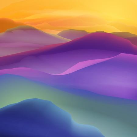Illustration pour Sunset or Dawn Over the Mountains Landscape - Illustration - image libre de droit
