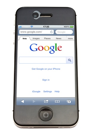 Google website displayed on  an iPhone screen