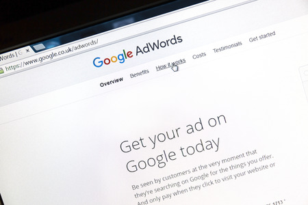 Google Adwords website on a computer screen. Google AdWords is an online advertising service.
